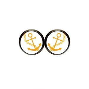 Gold Anchor Earrings - Nautical, Coastal